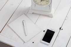 Simple workspace on wooden table Royalty Free Stock Photography