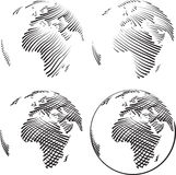 Simple World Engraving Stock Images