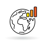 Simple world with global warming chart icon Stock Photography