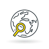 Simple world with magnifying glass icon Stock Image