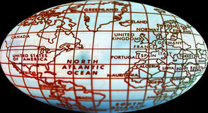 Simple world map. Map of world and focus on northern hemisphere. Small DOF stock photo