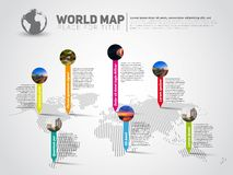 Simple World map infographic communication template with pointer Stock Photography
