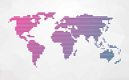 Simple world map made up of colored stripes Stock Photos