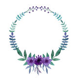 Simple Wreath With Watercolor Bright Violet Flowers, Berries And Leaves Stock Image