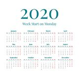 Simple 2020 year calendar. Simple classic style 2020 year calendar, week starts on monday Stock Images