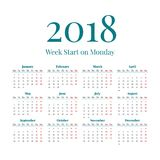 Simple 2018 year calendar. Simple classic style 2018 year calendar, week starts on monday Stock Photography