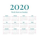 Simple 2020 year calendar. Simple classic style 2020 year calendar, week starts on sunday stock illustration