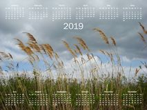 Simple 2019 year calendar royalty free stock image