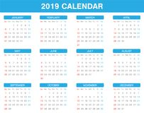 Simple 2019 year calendar set of all month. A simple 2019 year calendar set of all month Royalty Free Stock Photo