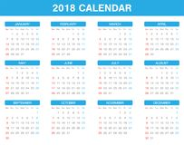Simple 2018 year calendar set of all month. A simple 2018 year calendar set of all month Stock Images