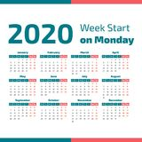 Simple 2020 year calendar. Week starts on Monday Stock Photo