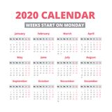 Simple 2020 year calendar. Week starts on Monday Royalty Free Stock Image