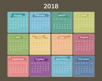 Simple 2018 year calendar. Week starts on Sunday. Flat  illustration Royalty Free Stock Photos