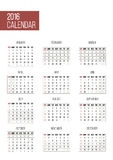 Simple 2016 year calendar. Template vector illustration