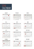 Simple 2016 year calendar template. With USA federal holidays stock illustration