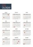 Simple 2016 year   calendar template Stock Photo