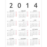 Simple 2014 year calendar Royalty Free Stock Images
