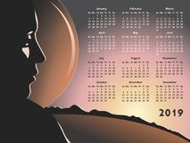 Simple 2019 year calendar. Vector format Royalty Free Stock Photos
