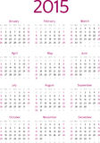 Simple 2015 year calendar vector grid. Simple 2015 year American calendar vector grid Stock Photo