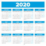 Simple 2020 year calendar. Week starts on Monday Royalty Free Stock Images