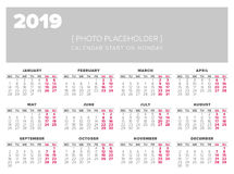 Simple 2019 year calendar. Week starts on Monday Stock Images