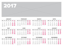 Simple 2017 year calendar. Week starts on Monday Royalty Free Stock Photo