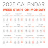 Simple 2025 year calendar Royalty Free Stock Photography