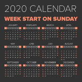 Simple 2020 year calendar. Week starts on Monday Stock Image