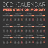 Simple 2021 year calendar Stock Image