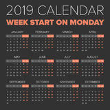 Simple 2019 year calendar. Week starts on Monday Royalty Free Stock Photo