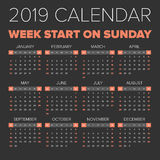 Simple 2019 year calendar. Week starts on Monday Royalty Free Stock Image