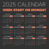 Simple 2025 year calendar Royalty Free Stock Images