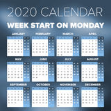 Simple 2020 year calendar. Week starts on Monday Royalty Free Stock Photo