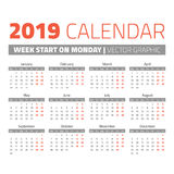 Simple 2019 year calendar. Week starts on Monday Stock Photography