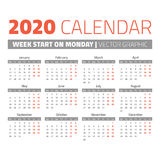 Simple 2020 year calendar. Week starts on monday Stock Photography
