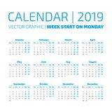 Simple 2019 year calendar. Week starts on monday Royalty Free Stock Photos