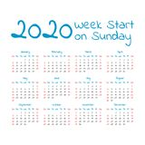 Simple 2020 year calendar. Week starts on sunday Stock Images