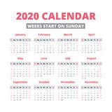 Simple 2020 year calendar. Week starts on sunday Royalty Free Stock Photography