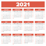 Simple 2021 year calendar Royalty Free Stock Photography