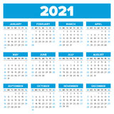 Simple 2021 year calendar Stock Photography