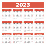 Simple 2023 year calendar Royalty Free Stock Image