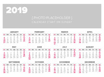 Simple 2019 year calendar. Week starts on Sunday Royalty Free Stock Images