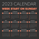 Simple 2023 year calendar Royalty Free Stock Photography