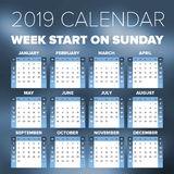 Simple 2019 year calendar. Week starts on Sunday Royalty Free Stock Photo