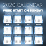 Simple 2020 year calendar. Week starts on Sunday Royalty Free Stock Images
