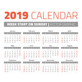 Simple 2019 year calendar. Week starts on sunday Stock Photography