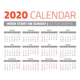 Simple 2020 year calendar. Week starts on sunday Stock Image