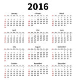 Simple 2016 year calendar on white background. Vector illustration Royalty Free Stock Photos
