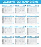 Simple 2018 year planner calendar set of all month. A simple 2018 year planner calendar set of all month Stock Photos