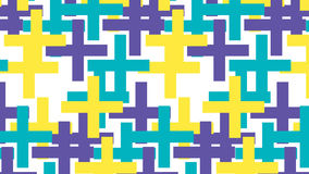 Simple yellow blue and purple plus sign pattern Stock Image